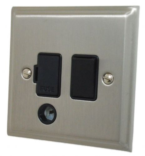 G&H DSN56B Deco Plate Satin Nickel 1 Gang Fused Spur 13A Switched & Flex Outlet